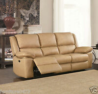 Beige Leather Manual 3 Seat or 2 Seater Armchair Recliner Sofa Suite TOLEDO 31
