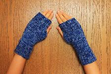 Handknit Fingerless Mittens- Wrist Warmers-Texting Gloves-Blue Variegated