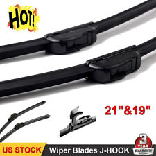 "21""+19"" Inch Bracketless Windshield Wiper Blades OEM Quality J-HOOK ALL SEASON"