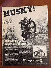 Vintage 1969 Original Print Ad Husqvarna 360 Sportsman Motorcycle Husky MAN CAVE