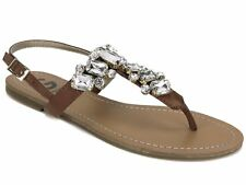 G By Guess Women's Kyli T-Strap Flat Thong Sandal Light Brown Jeweled Size 6.5 M