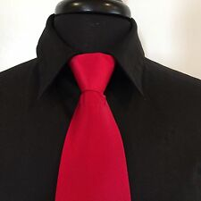 """Men's Ruby Red Wedding Formal Prom Ballroom Competition 20"""" Zipper Tie"""