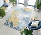DIMENSIONS TROPIC LEAVES WEATHER-RESISTANT OUTDOOR OCHRE/BLUE FLAT RUG RUNNER