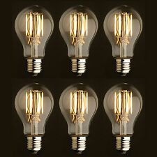 Vintage Style Edison LED Light Bulbs 6W Dimmable Filament Incandescent, Set of 6