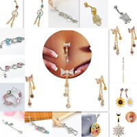 Crystal Bow Tassel Dangle Navel Belly Button Bar Barbell Ring Body Piercing New