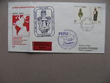 PERU, cover spec. flight 1974, Lima-Frankfurt. stamps ao orchid, canc ao Do-X