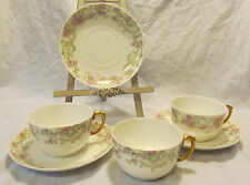 Bernardaud D&C Limoges France 3 Sets Antique Porcelain Cups & Saucers REDUCED!!!