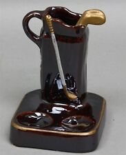 Vintage GLAZED BROWN CERAMIC PIPE REST CIGARETTE MATCH HOLDER GOLF BAG & CLUB
