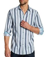 Robert Graham Men's Long Sleeve Glendora Striped Tailored Fit Shirt Grey XL