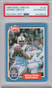 Johnny Unitas Baltimore Colts 1988 Swell Greats Signed Autograph PSA DNA