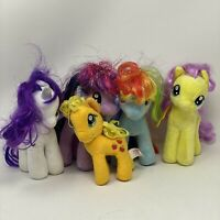 "Lot of 5 My Little Pony 7"" Plush 4 TY 1 HB Beanies Sparkle, Fluttershy, Rarity,"