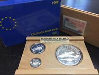 ESPAÑA 1+5+25 EUROS 1997 HOMENAJE A LA AVIACION ESPAÑOLA ESTUCHE PLATA SERIE SET