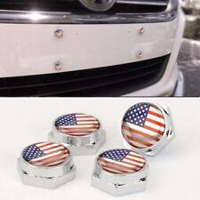 Set of 4  American Flag Anti-Theft License Plate Frame Screw Cap Hummer Pontiac