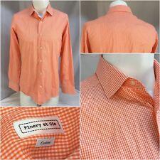 Finery Et Cie Shirt 15.5 33 Orange Check Cotton Slim NWOT YGI B8-245