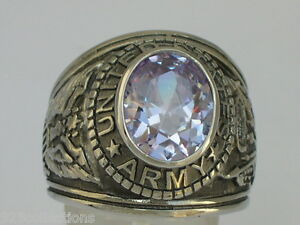 Stainless Steel United States Army Military June Lt. Amethyst Men Ring Size 7-15
