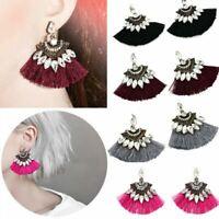 Retro Crystal Rhinestone Tassel Drop Dangle Ear Stud Earrings Fashion Jewelry