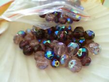 127 x mixed Purple and Pink Facetted CHEZCH CRYSTALS 8mm - 6mm