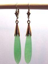 Light Green Jade Long Teardrop Dangle Leverback Earrings 14K Yellow Gold Filled