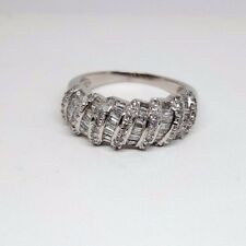 Diamond Band Ring - 9ct White Gold - Round and Baguette Cut (4390)