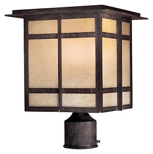 Minka-Lavery #71196-A357-PL One Light Post Mount Double French Scavo Glass GU24