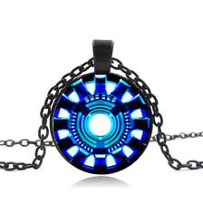 Iron man , Arc reactor Black Glass Cabochon Necklace chain Pendant Wholesale