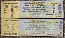 Unlv Basketball Lot Of 2 Original Used Tickets Mgm Las Vegas, 2014 & 2015 Oregon
