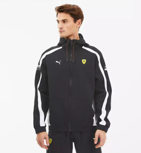 Men's Puma Scuderia Ferrari Hooded Sweat Jacket Black White 596145 02 NEW
