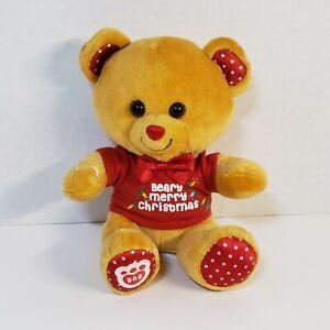 "Build A Bear Mini 9"" Baker Bear - Beary Merry Christmas Graphic Red Tee 2017"