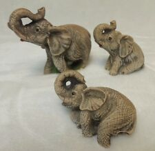 Trunk up Lucky Elephant Figurine set by Satis 5 Bisque set