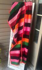 "Vintage Handmade Afghan Throw Rainbow Striped Blanket 66"" X 33"""