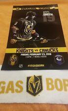 Vegas Golden Knights Vancouver Canucks 2/23/18 Inaugural Season Poster Smith