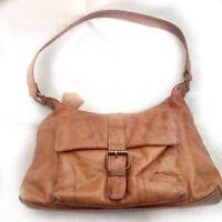 Gigi Tan Leather Distressed Slouch Shoulder Bag One Handle Zip Pockets