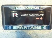 #1656 Michigan State Spartans Silver Green Auto License Plate Frame Chrome New