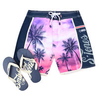 Smith & Jones Summer Beach Surf Swim Board Shorts & Flip Flop Set Palm Tree Pink