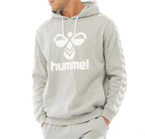 Hummel Mens Large Logo Hoodie Grey/White Sizes new
