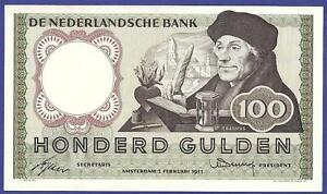100 GULDEN 1953 GEM UNCIRCULATED BANKNOTE FROM NETHERLANDS  !!!!!!!!!!!!!!!!!!!!