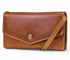 Timberland Womens RFID Leather Wallet Phone Bag with Crossbody Strap Cognac