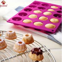 New 20 Cavity  Mini Fancy Bundt Savarin Cake Pan Silicone Mold Baking Mould