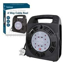 4Way Mains Socket 15M Heavy Duty Electrical Extention Reel Cable Lead 13amp Fuse