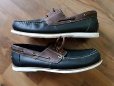 ff32d9d4f36 Maine New England gents moccasins in navy blue and brown leather size 11uk