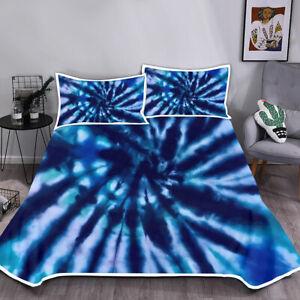 Mermaid Tie-dye Blanket Bedding Set Summer Cool Comfortable with Pillowcase 3pcs