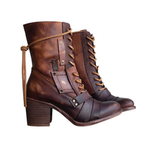 Women's Ankle Boots Pu Leather Straps Block Mid Heels Ladies Retro Lace-Up Shoes