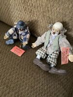 """Set Of """"2"""" Topsy Turvies Vintage Collectible Porcelain Clown Figurines Dolls"""