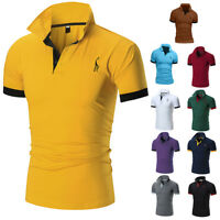 Men Slim Fit POLO Shirts Summer Solid Short Sleeve Casual T-shirt Work Tee Top