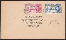 DOMINICA 1946 Victory set used on cover to UK...............................7433