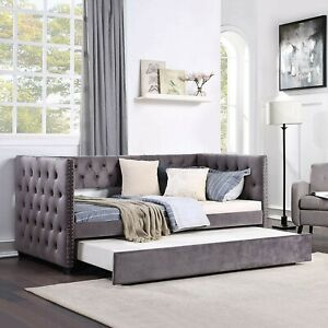 Elegant Daybed w/Trundle Upholstered Tufted Linen Sofa Bed Twin Size Gray