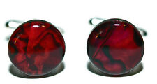 "5/8"" (15mm) BRIGHT RED ABALONE PAUA SHELL CUFF LINKS (234a)"