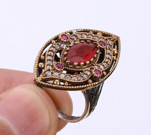 TURKISH RUBY .925 SILVER & BRONZE RING SIZE 8.5 #37238