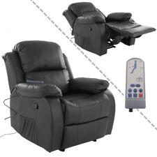 Fernsehsessel mit Massage Kunstleder schwarz Wärmefunktion und Fernbedienung