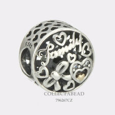 Authentic Pandora Silver & 14K Gold Family Tribute Clear CZ Bead 796267CZ